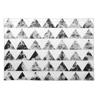 Aztec print black blank Black White Placemats
