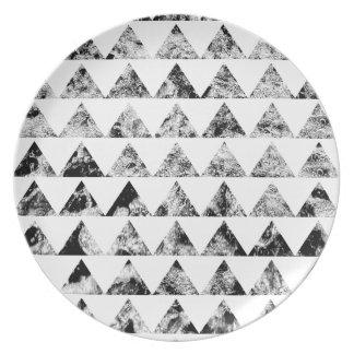 Aztec print black blank Black White Plate