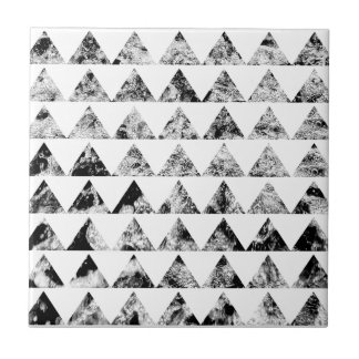 Aztec print black blank Black White Tile
