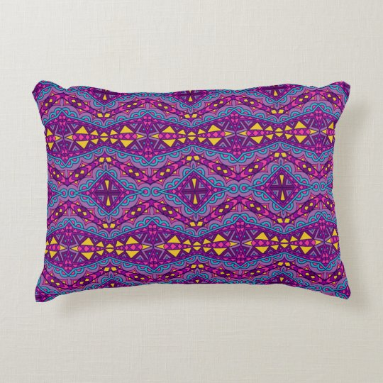 Aztec Purple Pattern Accent Pillow