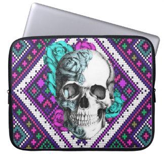 Aztec Rose skull on pixel pattern Laptop sleeve. Laptop Sleeve