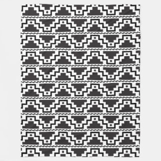 Aztec Step Pyramid Black White Primitive Modern Fleece Blanket