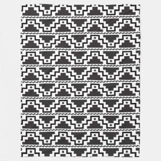 Aztec Step Pyramid Black White Primitive Modern Fleece Blanket