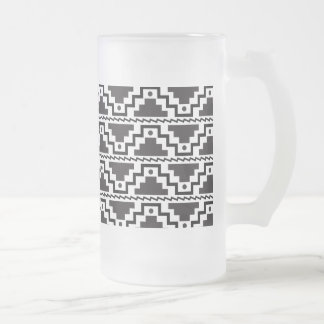 Aztec Step Pyramid Black White Primitive Modern Frosted Glass Beer Mug