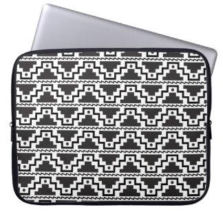 Aztec Step Pyramid Black White Primitive Modern Laptop Computer Sleeve