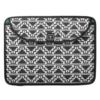Aztec Step Pyramid Black White Primitive Modern Sleeves For MacBooks