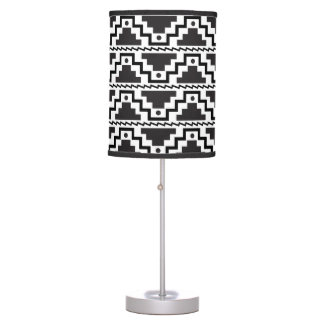 Aztec Step Pyramid Black White Primitive Modern Table Lamps
