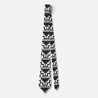 Aztec Step Pyramid Black White Primitive Modern Tie