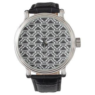 Aztec Step Pyramid Black White Primitive Modern Wristwatches