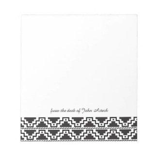 Aztec Step Pyramid Black White Primitive Monogram Notepad