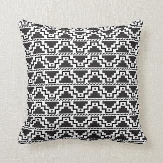 Aztec Step Pyramid Black White Primitive Monogram Throw Pillow