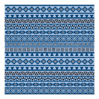 Aztec Style Pattern Blues Black & White Poster