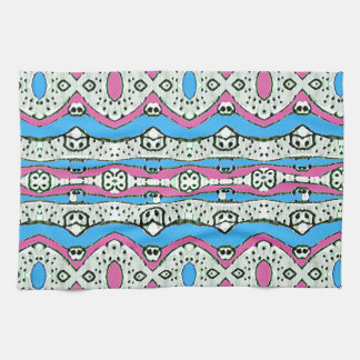 Aztec Style Pattern in Pastel Colors Kitchen Towel