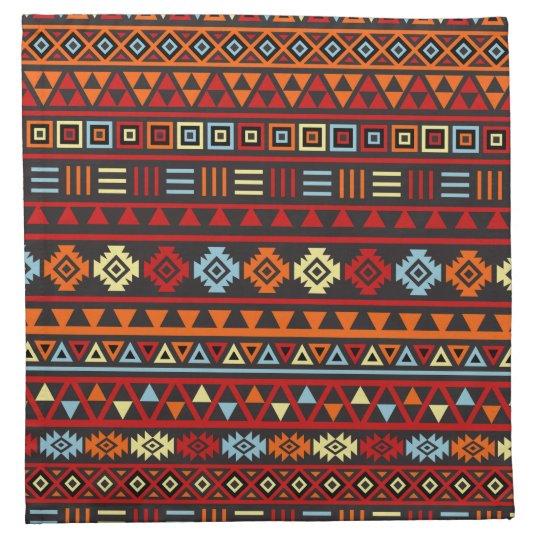 Aztec Style Pattern - Orange Yellow Blue Red & Blk Printed Napkin