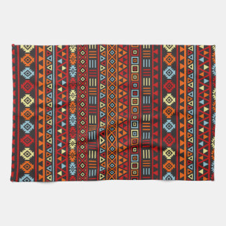 Aztec Style Repeat Ptn - Orange Yellow Red & Black Kitchen Towel