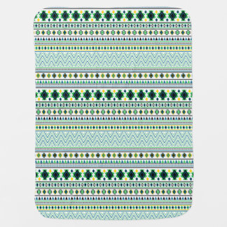 Aztec Style Tribal Pattern White Blue Green Swaddle Blanket