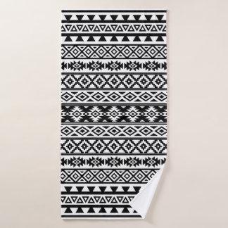 Aztec Stylized Pattern Black & White Bath Towel
