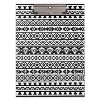 Aztec Stylized Pattern Black & White Clipboard