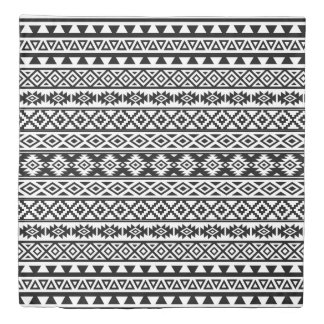 Aztec Stylized Pattern Black & White Duvet Cover