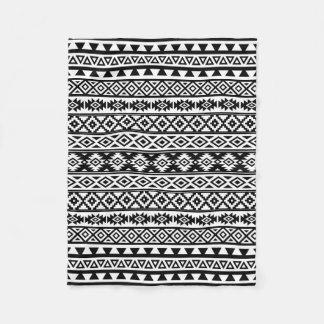 Aztec Stylized Pattern Black & White Fleece Blanket