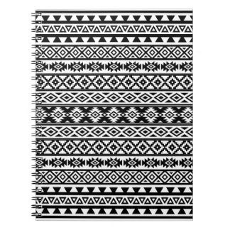Aztec Stylized Pattern Black & White Notebook