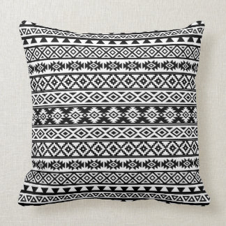 Aztec Stylized Pattern Black & White Throw Pillow