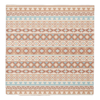 Aztec Stylized Pattern Blue Cream Terracottas Duvet Cover