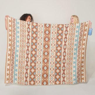 Aztec Stylized Pattern Blue Cream Terracottas Fleece Blanket