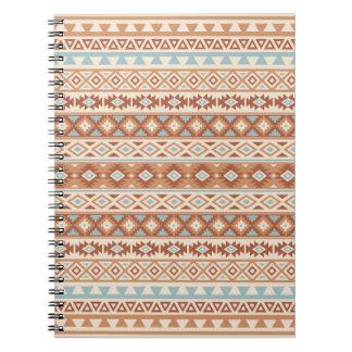 Aztec Stylized Pattern Blue Cream Terracottas Notebook