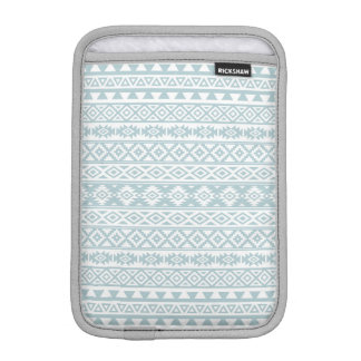 Aztec Stylized Pattern Duck Egg Blue & White iPad Mini Sleeve