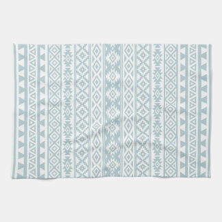 Aztec Stylized Pattern Duck Egg Blue & White Kitchen Towel
