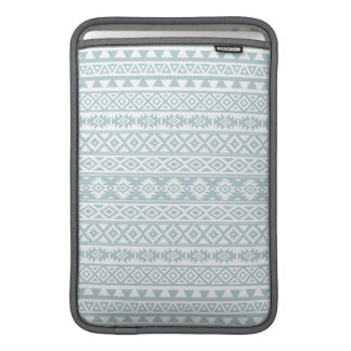 Aztec Stylized Pattern Duck Egg Blue & White Sleeve For MacBook Air