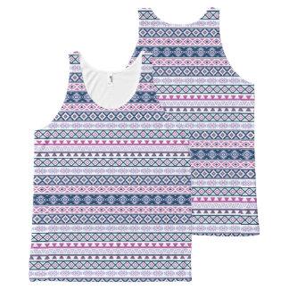 Aztec Stylized Pattern Pinks Purples Blues Wt All-Over-Print Tank Top