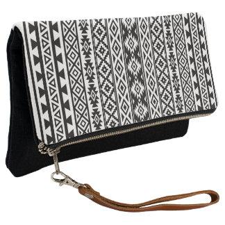 Aztec Stylized (V) Pattern Black & White Clutch