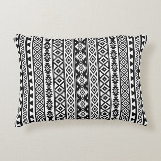 Aztec Stylized (V) Pattern Black & White Decorative Pillow