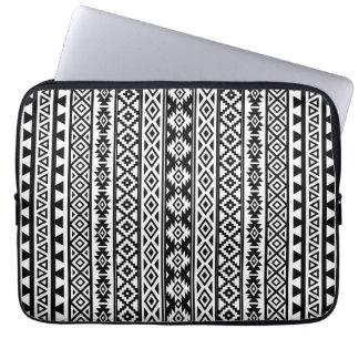 Aztec Stylized (V) Pattern Black & White Laptop Sleeve
