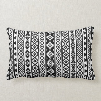 Aztec Stylized (V) Pattern Black & White Lumbar Pillow