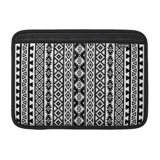 Aztec Stylized (V) Pattern Black & White MacBook Sleeve