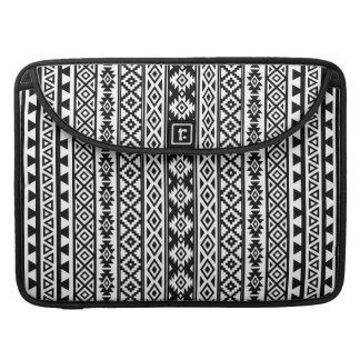 Aztec Stylized (V) Pattern Black & White Sleeve For MacBooks