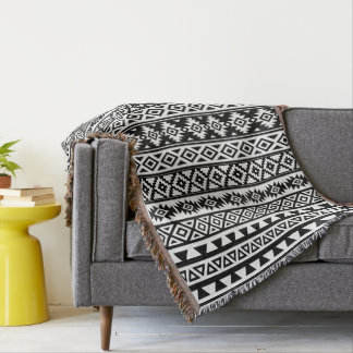 Aztec Stylized (V) Pattern Black & White Throw Blanket