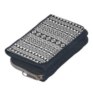 Aztec Stylized (V) Pattern Black & White Wallets