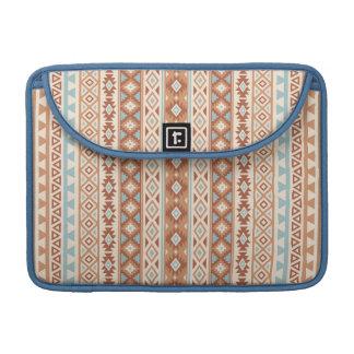 Aztec Stylized (V) Pattern Blue Cream Terracottas Sleeve For MacBook Pro