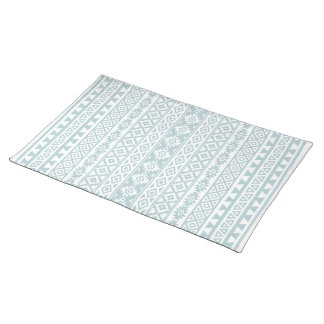 Aztec Stylized (V) Pattern Duck Egg Blue & White Placemat