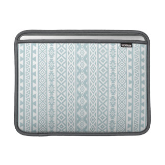Aztec Stylized (V) Pattern Duck Egg Blue & White Sleeve For MacBook Air