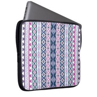 Aztec Stylized (V) Ptn Pinks Purples Blues White Laptop Sleeve