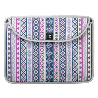 Aztec Stylized (V) Ptn Pinks Purples Blues White Sleeve For MacBook Pro