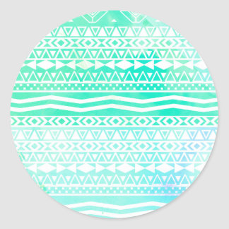 Aztec Summer Teal Watercolor Geometric Pattern Classic Round Sticker