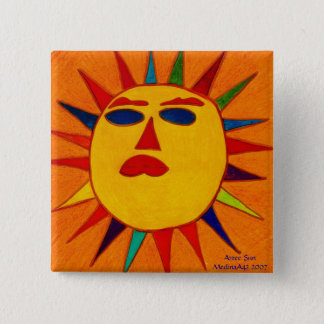 Aztec Sun 2 Inch Square Button