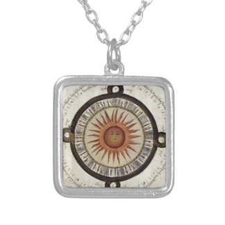 Aztec sun calender design silver plated necklace