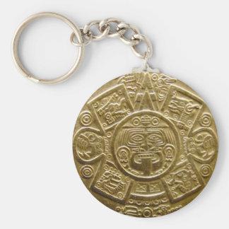 Aztec sun disc key chain